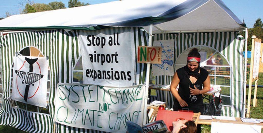 Klimacamp infozelt_c_System Change, not Climate Change!